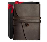 Кожаный Блокнот B6 Comfy Strap ручной работы из кожи Crazy Horse Темно-коричневый Подарочная коробка