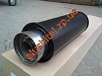 Прямоточный глушитель YFX-0638 (V004) (круглая насадка-флейта) алюминизированный/нержавейка