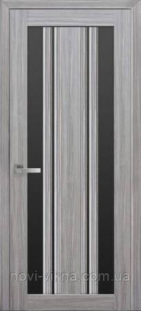 Дверь межкомнатная Верона С2 жемчуг серебрянный 700 мм со стеклом BLK (черное).