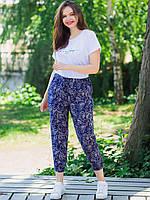 Свободные женские батальные брюки на резинке с принтом увеличенных размеров XL, 2XL, 3XL