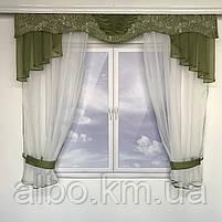 Гардина для кухні спальні кімнати, фіранка в дитячу спальню, гардини з шифону льону, готова фіранка на вікна для спальні кухні, фото 2