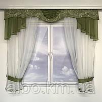 Гардина для кухні спальні кімнати, фіранка в дитячу спальню, гардини з шифону льону, готова фіранка на вікна для спальні кухні, фото 4