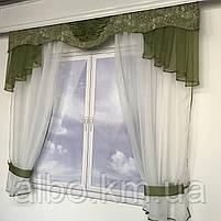 Гардина для кухні спальні кімнати, фіранка в дитячу спальню, гардини з шифону льону, готова фіранка на вікна для спальні кухні, фото 5