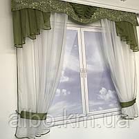 Гардина для кухні спальні кімнати, фіранка в дитячу спальню, гардини з шифону льону, готова фіранка на вікна для спальні кухні, фото 6
