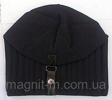 Зимняя шапка Mohikan. Шерсть. Кнопка. Черная.