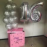 Коробка сюрприз з букетом куль Рожеве срібло, фото 2