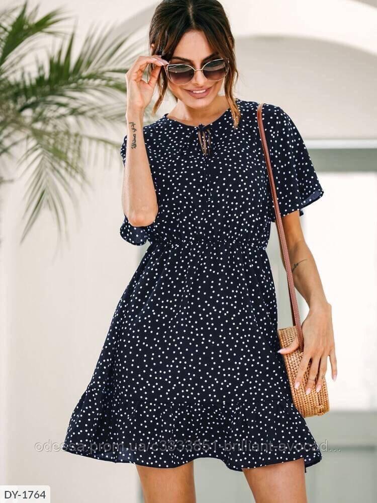 Женское свободное летнее платье в горох