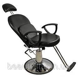 Перукарське крісло на гідравліці з регульованим підголовником і підніжкою для барбершопа, визажное ZD-346B