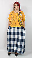 Турецкое летнее женское платье с накидкой, большие размеры 52-64