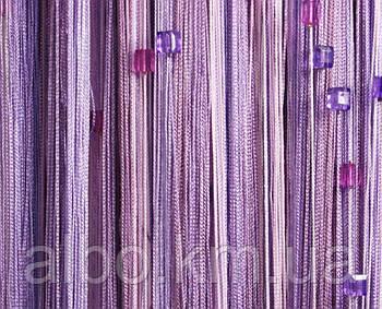 Нити шторы на кухню с камнями радуга 300x280 cm Фиолетово-розовые (NK-202)