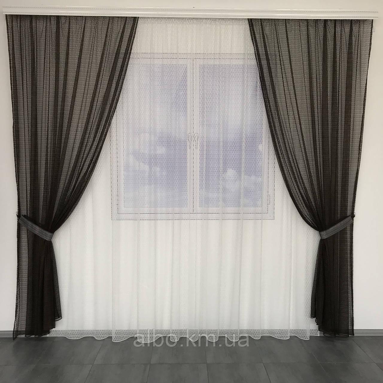 Штори і тюль в дитячу кімнату спальню, штори з сітки на кухню, штори для залу кімнати кабінету 200x270 cm (2 шт) і тюль 400x270 cm