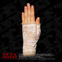 """Белые перчатки-митенки """"Розочки"""" короткие, гипюровые"""