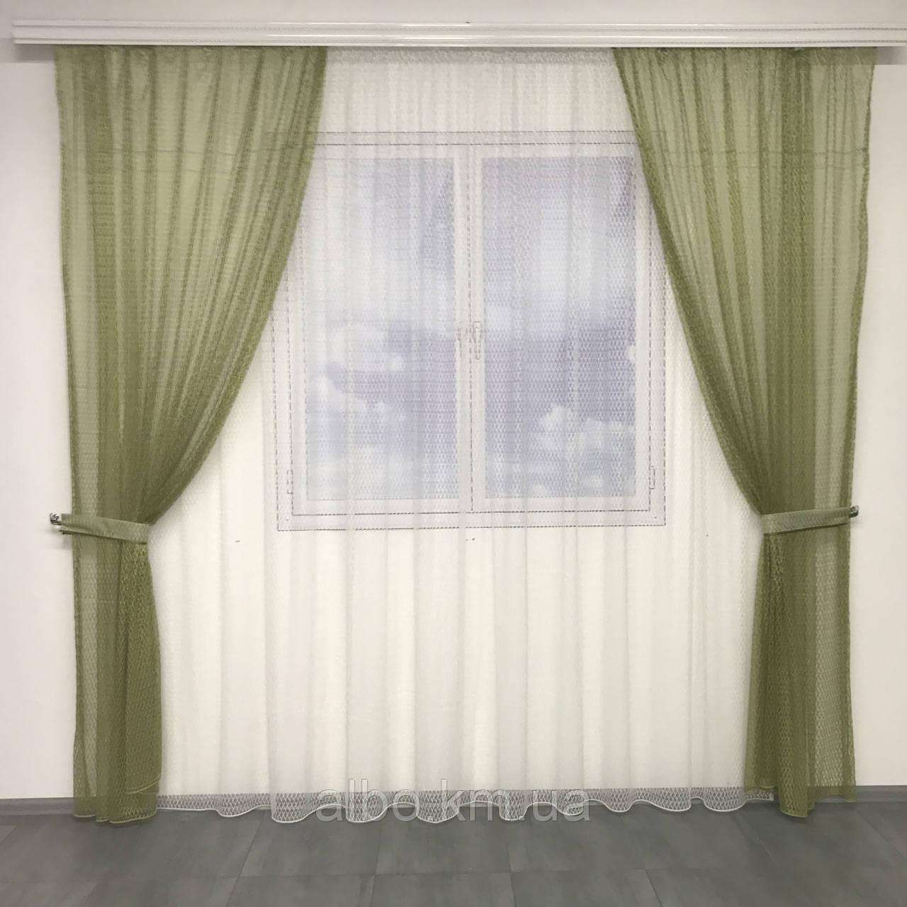 Кухонні штори з сітки, комплект штор з тюлем для залу спальні кімнати, штори з сітки в кухню хол зал кабінет 200x270 cm (2 шт) і