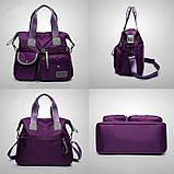 Тканинна модна жіноча сумка з кишенями ZA-2, фото 5