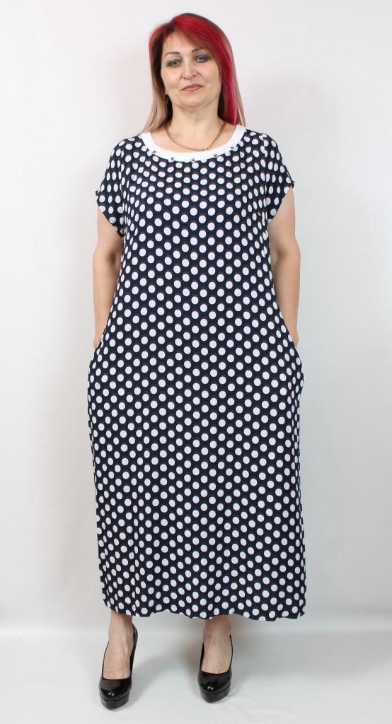 Турецкое летнее женское платье макси в горошек, большие размеры 50-62