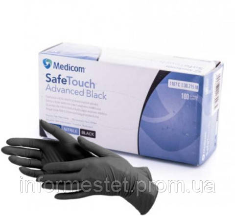 Перчатки нитриловые текстурированные неопудренные S Black, MEDICOM SAFE TOUCH (Медиком Сейф Тач) 100 шт.