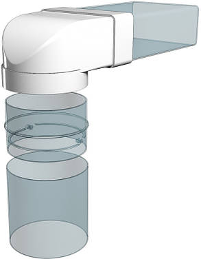 З'єднувач Ера 90° прямокутного повітроводу з круглим 55 х 110 х 100 мм (60-426), фото 2
