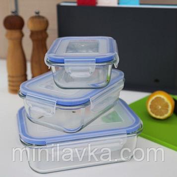 Набір скляних контейнерів (судків) Herisson EZ-2501 - 3 контейнера