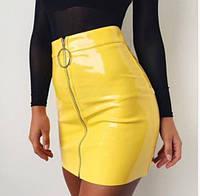 Сексуальная юбка виниловая, лаковая с молнией спереди, желтая, размер ХL, фото 1