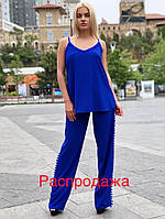 Женский летний костюм свободные брюки и удлиненная майка софт, фото 1