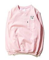 Свитшот модный с принтом розовый мужской женский кофта без капюшона реглан