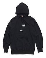 Худи уличный с логотипом чёрный мужской женский кофта с капюшоном