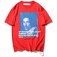 ✔️ Футболка летняя хлопковая с синим принтом красная мужская женская унисекс