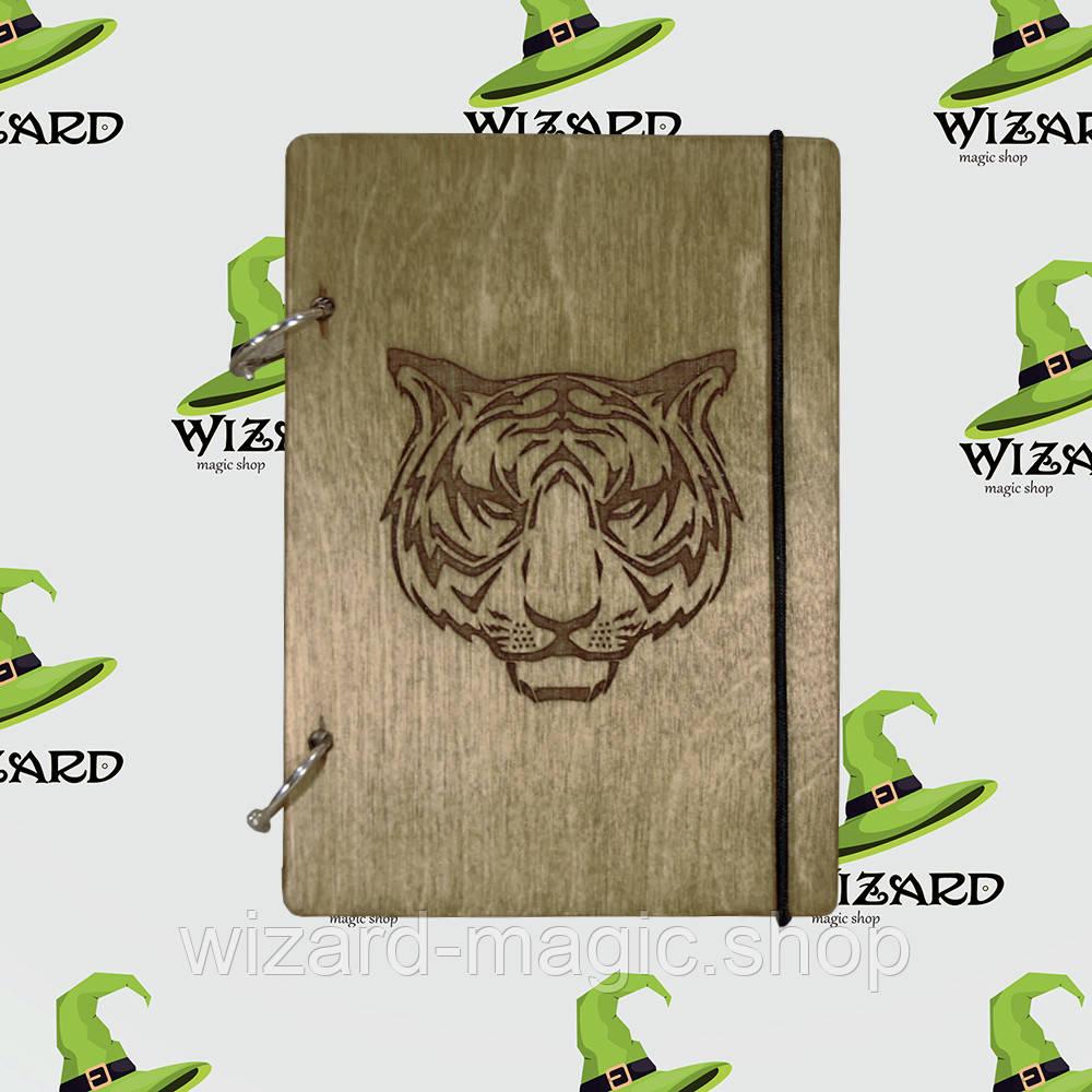 Деревянный блокнот А6 Тигр (мореное дерево)