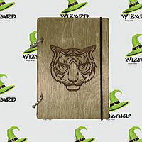Деревянный блокнот А6 Тигр (мореное дерево), фото 1