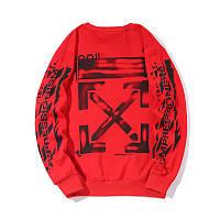 Свитшот топовый из коттона с логотипом красный мужской женский кофта без капюшона