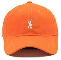 ✔️ Кепка модная хлопковая с белым логотипом оранжевая мужская женская бейсболка