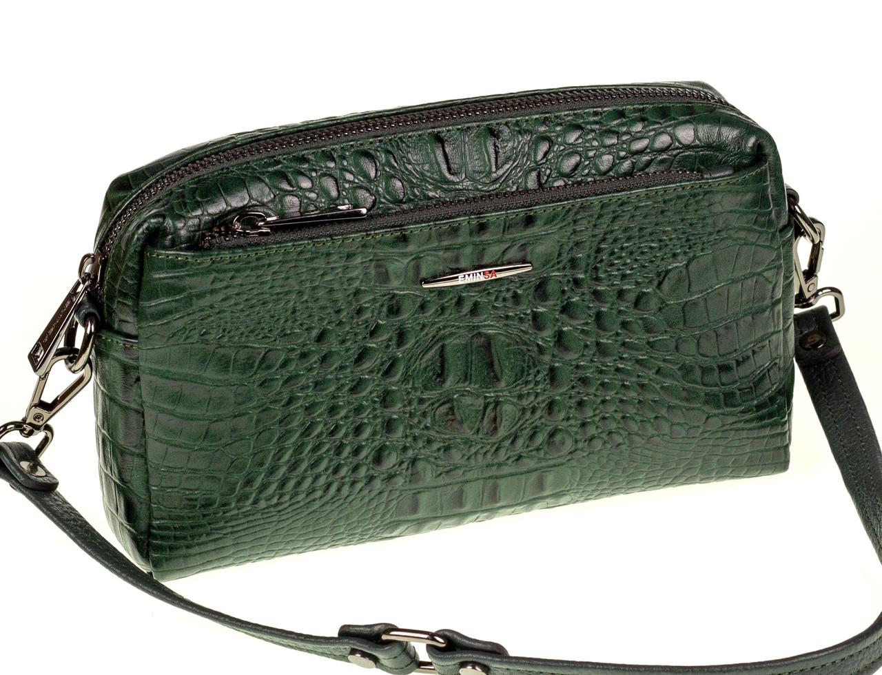 Женская сумка кожаная кросс-боди Eminsa 40125-4 зеленая
