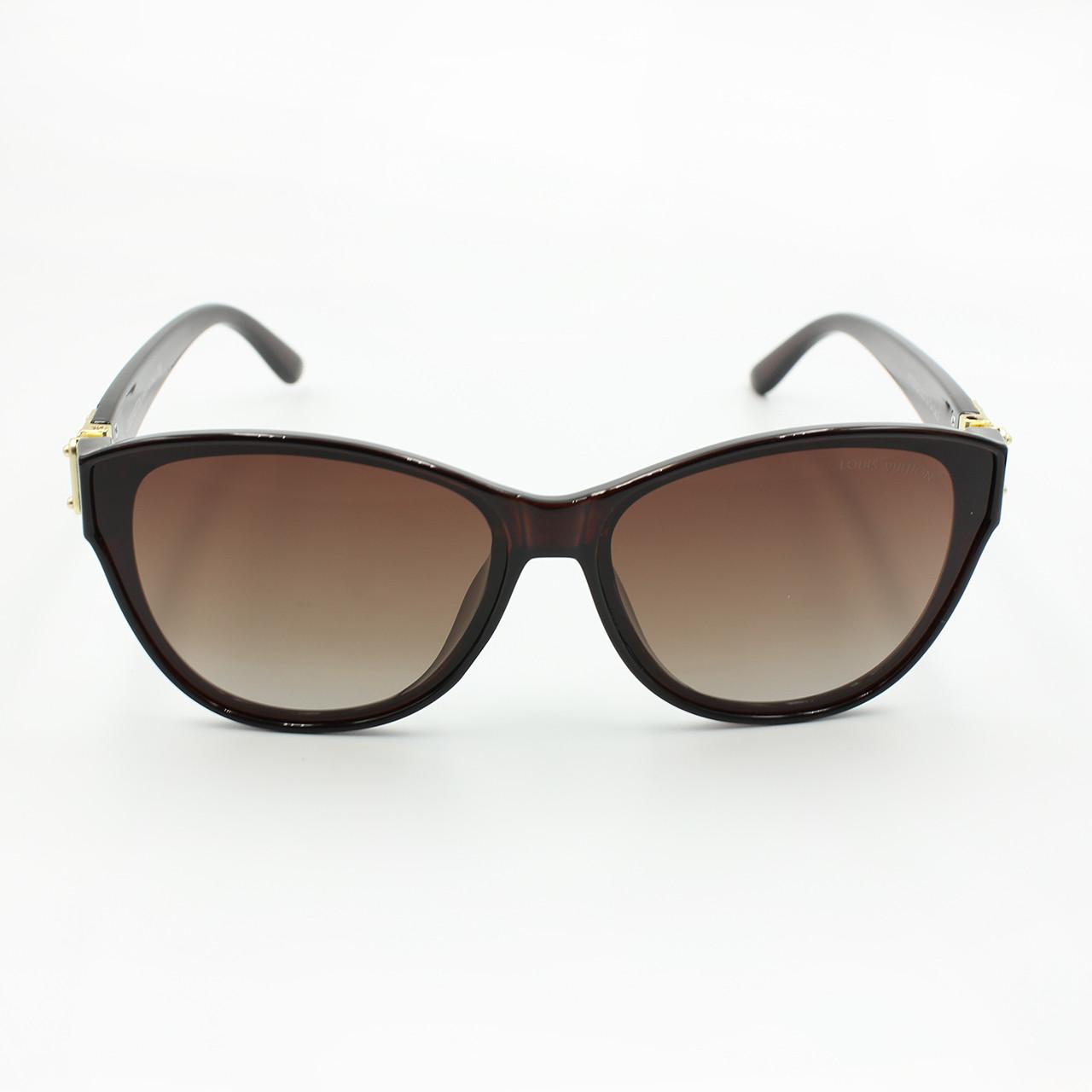 Коричневые женские солнцезащитные очки с поляризацией Louis Vuitton