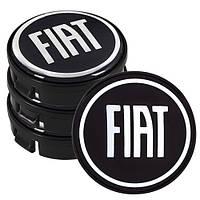 Заглушка колесного диска Fiat 60x55 черный ABS пластик (4шт.) (D)