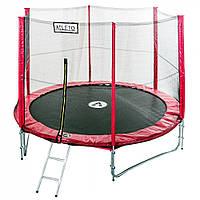 Батут спортивный Atleto 435 см двойные ноги сетка для активного отдыха красный (высота 260 см лестница), фото 1
