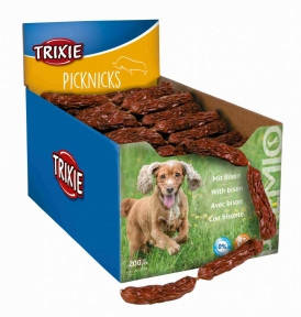 Premio Picknicks - сосиски для собак с мясом бизона 200шт., Трикси 2754 Гирлянда сосисок мясо бизона 200шт, Trixie