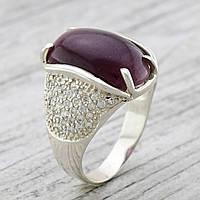Серебряное кольцо Ольга вставка бордовый улексит вес 7.9 г размер 20