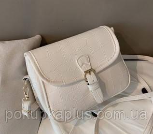 Сумка клатч женская Белая через плечо Код 015802