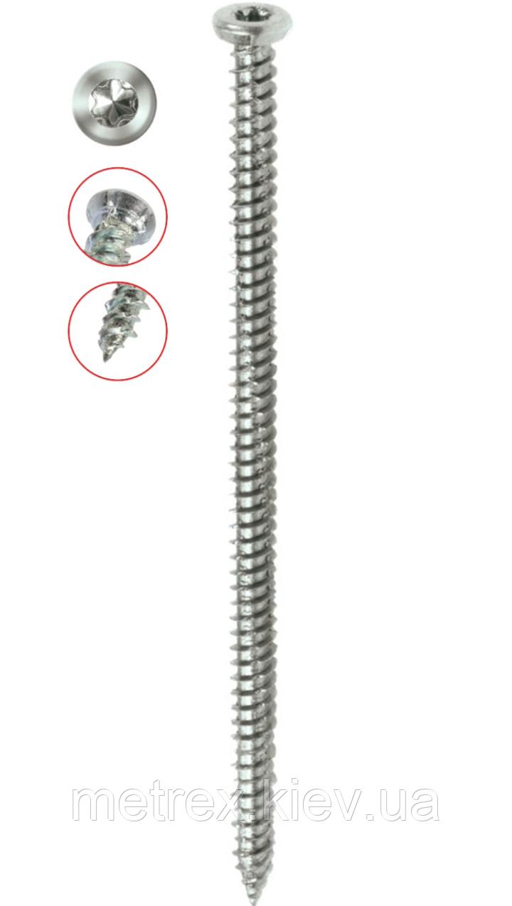 Шуруп по бетону рамный 7.5х112 мм (турбовинт) с плоской головкой WHO Red Mark, 100 шт.