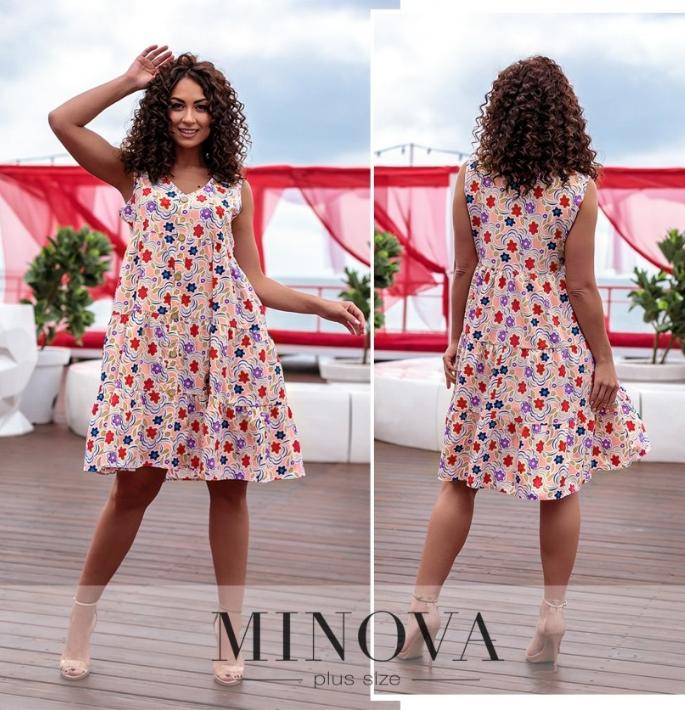 Лёгкое и удобное платье А-силуэта цвет пудра цветы Размеры: 50-52, 54-56, 58-60