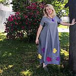 Платье женское Бохо хлопок деним с цветами Пл 187-2, фото 6