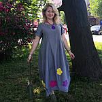 Платье женское Бохо хлопок деним с цветами Пл 187-2, фото 5