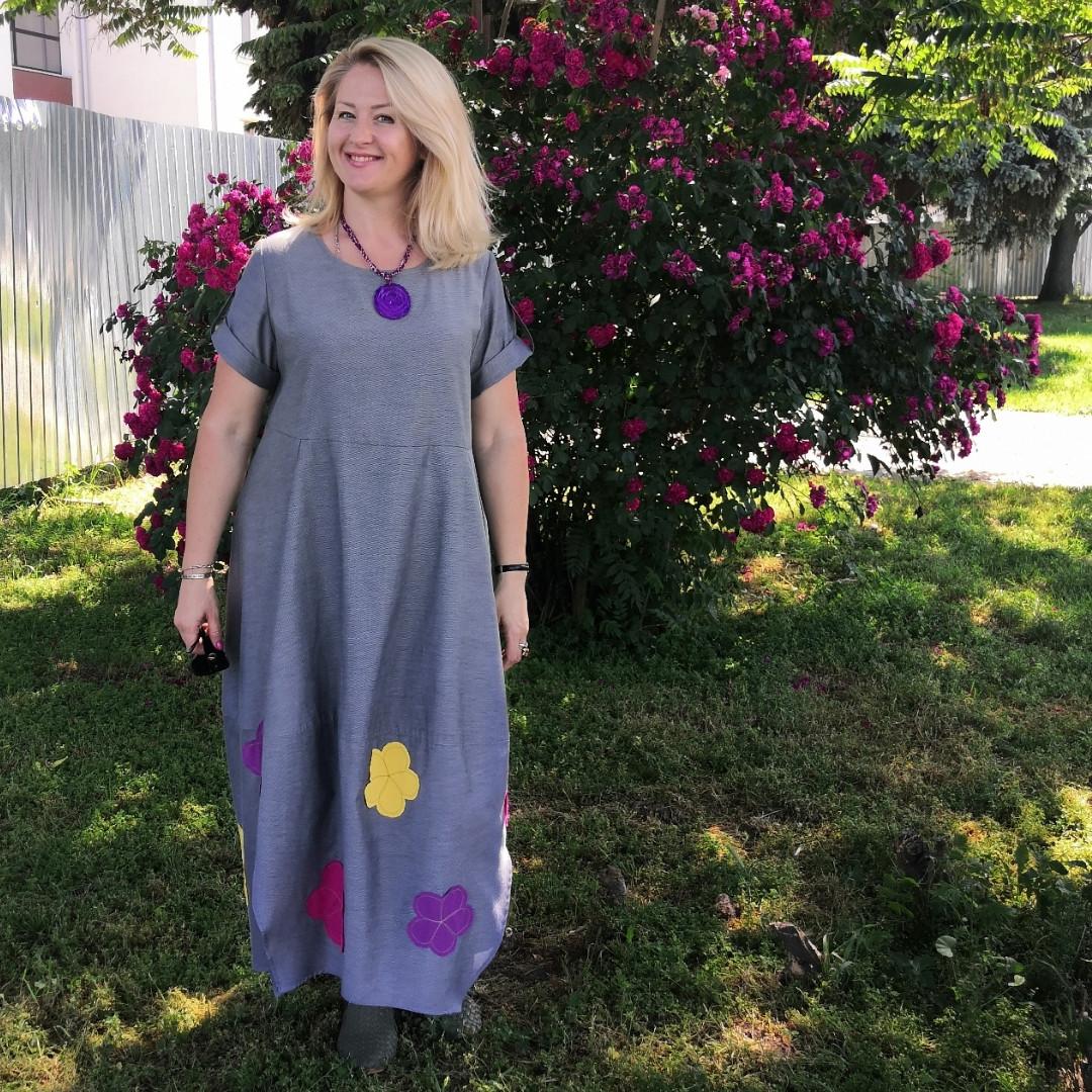 Платье женское Бохо хлопок деним с цветами Пл 187-2