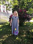 Платье женское Бохо хлопок деним с цветами Пл 187-2, фото 4