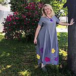 Платье женское Бохо хлопок деним с цветами Пл 187-2, фото 2