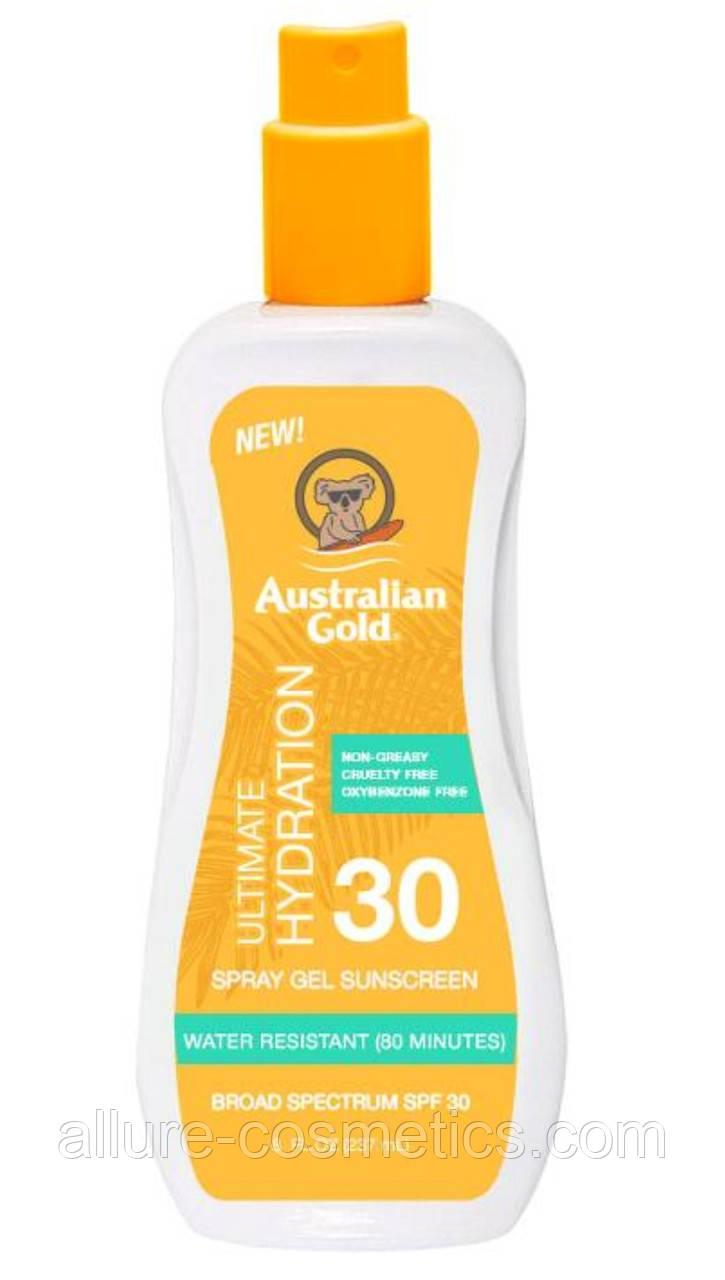 Спрей гель для загара Australian Gold Spray gel sunscreen SPF30 Ultimate Hydration