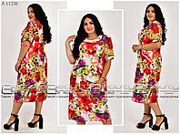 Женское летнее яркое платье ткань трикотаж масло Р-54, 56, 58, 60, 62, 64 большого размера,с цветочным принтом
