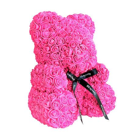 Мишка из роз в коробке 40 см - РОЗОВЫЙ, фото 2
