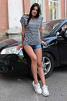 Жіноча асиметрична футболка у смужку, фото 1