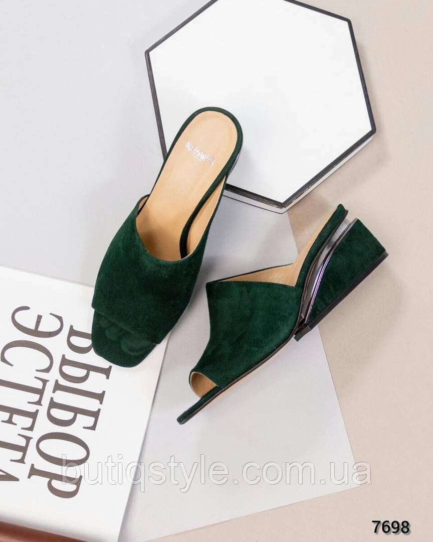 Женские темно-зеленые босоножки-шлепки натуральная замша